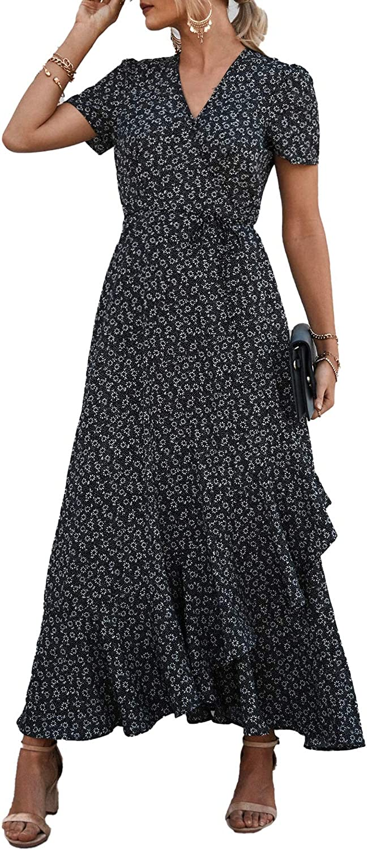 PRETTYGARDEN Women's Summer Wrap Maxi Dress Casual Boho Floral V Neck Short Sleeve Ruffle Hem Split Beach Long Dresses