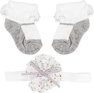 VALICLUD, VALICLUD Calcetines de Bebé Conjuntos de Diadema Botines de Encaje de Algodón Recién Nacido Lazo de Flores Banda para El Cabello para Niños Pequeños Accesorios para Fotos Baby Shower