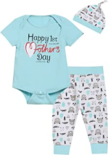 Paddy Field Happy Mother's Day Outfit Baby Boys' Bear Heart Arrow Short Sleeve Clothes Set