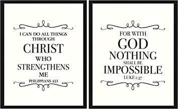 Scripture Wall Art. Bible Verse Print. for with God Nothing Shall be Impossible. I can do All Things Through Christ who Strengthens me. Set of (2) Dictionary Art Prints 8x10