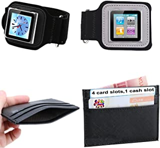 PiGGyB So Suede Armband ViC CoV Leather Card Wallet Set for Apple iPod Shuffle 1st 2nd 3rd 4th 6th Generation Models A1373 A1271 A1204 A1112 A1051