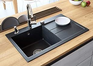 "Black Kitchen Sink Lavello Luxor 100LT 31"" Granite Sink Composite Single Bowl Big Range of Kitchen Sinks Drop In (Drainboard Postion: Right)"