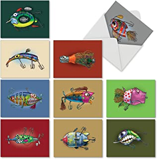 10 All-Occasion Note Cards with Envelopes 4 x 5.12 inch, Assorted 'Off the Hook' Blank Greeting Cards Featuring Cartoon Fishing Lures, Stationery for Father's Day, Birthdays, Thank Yous M6543OCB