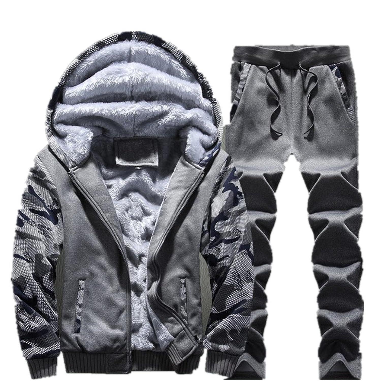 IEason メンズ トラックスーツ 暖かいフリーススポーツ フード付きスウェットシャツコート パーカー+パンツ スウェットスーツ(XL、グレー)