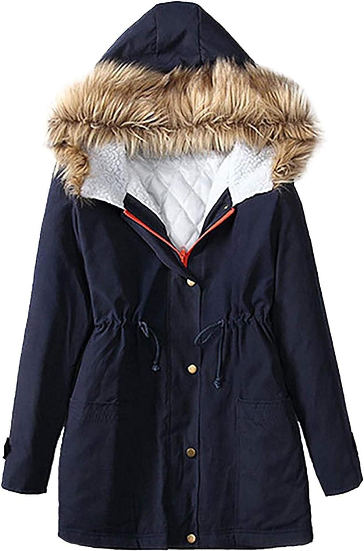 Womens Outwear Faux Fur Hood Fleece Lined Parka Jacket Waist Drawstring Plus Size Winter Coats with Pocket