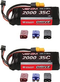 Venom 35C 2S 2000mAh 7.4V LiPo Battery with Universal Plug (EC3/Deans/Traxxas/Tamiya) x2 Packs