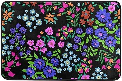 Not Slip Doormats Rugs Spring Floral Wildflowers Navy Blue Pink Red Soft Foam Printing for Living Room Kids Bedroom Bathroom Door Mats 23.6x15.7 inch