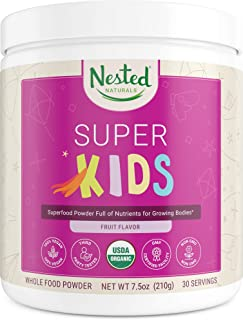 Nested Naturals Super Kids | 100% USDA Organic Vegan Superfood Powder for Kids | 30 Servings of Greens, Veggies, Fruits, S...
