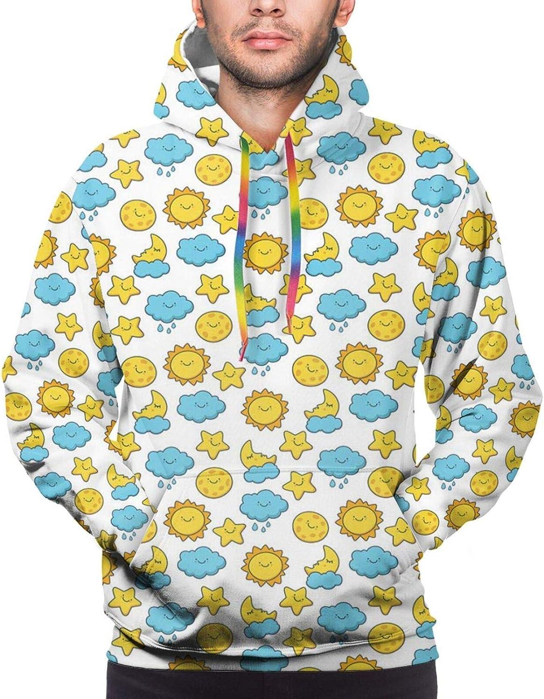 Men's Hoodies Sweatshirts,Sleepy Cat Holding Hearts Over The Moon at Night Sky