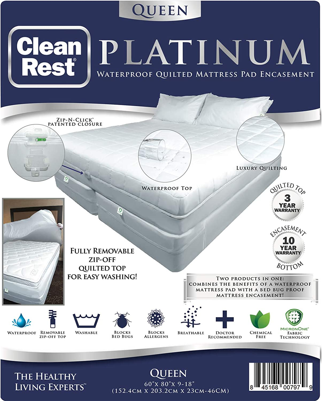 CleanRest Platinum Waterproof, Allergen Bed Bug Blocking Quilted Pad Encasement Queen Mattress Predector, White