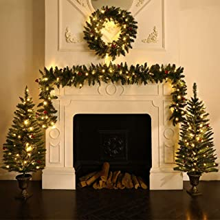 ANOTHERME Decorating Assortment with 2 4 Foot Entrance Christmas Trees, 1 9 Foot by 8 Inch Garland and 1 24 Inch Wreath All with Warm White USB Plug LED Light