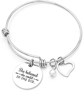 Jude Jewelers Stainless Steel Inspirational Encouragement Bracelet, She Believed She Could So She Did