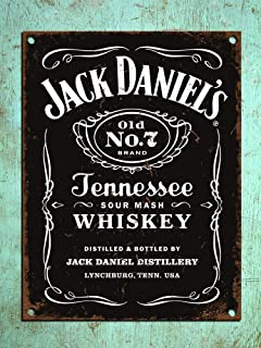 New Metal Aluminum Sign Jack Daniels Vintage Retro Style Plaque Kitchen Pub Bar Sign Tin Man Cave Novelty for Indoor Outdoor Wall Decoration Tin Sign 8x12 Inch
