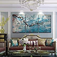 Ejart 3 Piece Wall Art Hand-Painted Framed Flower Oil Painting On Canvas Gallery Wrapped Modern Floral Artwork for Living ...