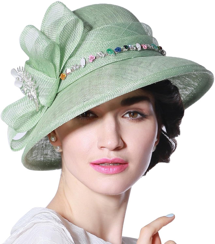 June's Young Women Hat Summer Sun Hat Young Green Stones Casings Light Green