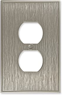 Twill Textured Decorative Switch Plate Wall Plate Outlet Cover   Questech Cast Metal Composite   Made in the USA (Single Duplex, Brushed Nickel Polished)