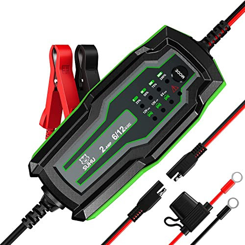 discount SUHU Car Battery outlet sale Charger, 6V/12V 2amp Smart Automatic Trickle Charger Battery Maintainer for Motorcycle Truck Lawn Mower Boat Marine RV lowest SUV ATV SLA Wet AGM Gel Lead Acid Lithium Battery Desulfator sale