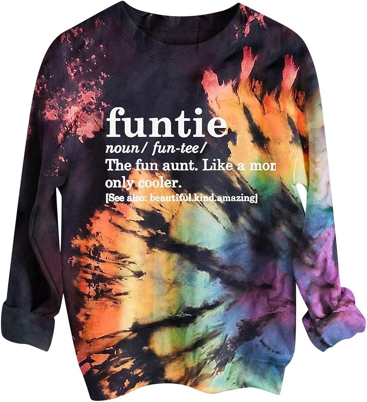 Toeava Tie-dye Sweatshirt for Women Long Sleeve Funtie Mama Graphic Sweatshirts Halloween Pullover Casual Tops