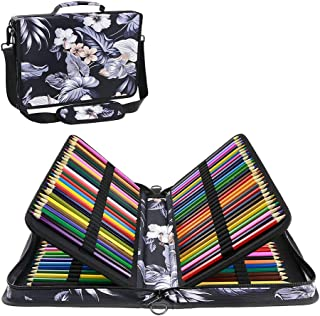 YOUSHARES 160 Slots Colored Pencil Case - Colorful Large Capacity Pen/Pencil Organizer with Strap for Watercolor Pencils, Cosmetic LipSense and Make up Brush (Mulberry White)