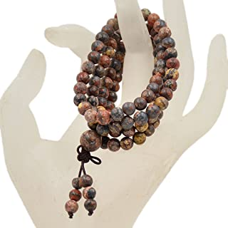 AD Beads Natural Gemstones Buddhist 108 Prayer Healing Beads Mala Stretchy Bracelet Necklace 6mm (Leopard Fur Jasper)