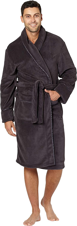 INTIMO Mens Solid Cozy Plush Robe with Satin Trim