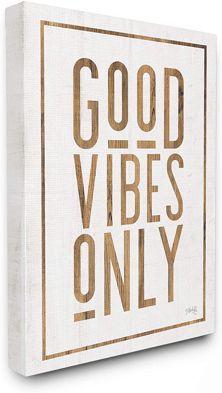 The Stupell Home Decor Good Vibes Only Rustic White and Exposed Wood Look Sign Stretched Canvas Wall Art 11x14 Multi-color
