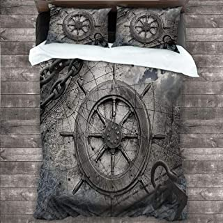 "Ships Wheel Bedspread Coverlet Set, Retro Navigation Equipment Illustration with Steering Wheel Charts Anchor Chains Comforter Cover and 2 Pillow Shams Brushed Microfiber Bedding,Full 80""x90"" Charcoal"