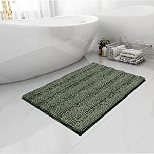 Easy-Going Luxury Chenille Striped Pattern Bath Mat, 20x32 in, Soft Plush Bath Rug, Absorbent Bathroom Rug, Non Slip Perfect Carpet Rugs for Shower, Bedroom, Front Door, Enterway (Greyish Green)