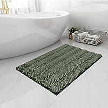 Easy-Going Luxury Chenille Striped Pattern Bath Mat, 20x32 in, Soft Plush Bath Rug, Absorbent Bathroom Rug, Non Slip Perfe...