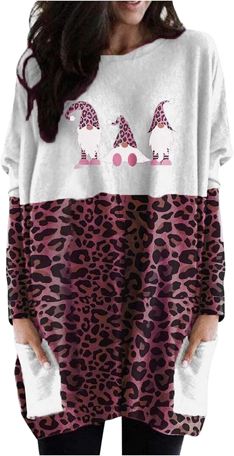 Free shipping anywhere in the nation Womens Leopard Color Block Sweatshirt Print Christmas Great interest Long Sleev