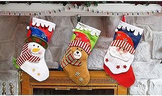 MGparty 3 PCS Christmas Stockings, 18 inch Xmas Stocking Party Mantel Decorations Ornaments - Santa Snowman Bear 4 Different Size Snow Christmas Tree Decoration
