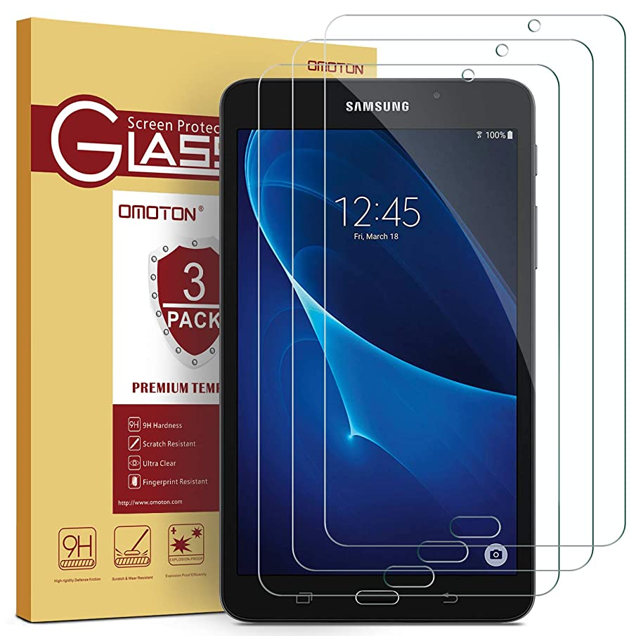 [3 Pack] OMOTON Samsung Galaxy Tab A 7.0 Screen Protector, Tempered-Glass Protector with [9H Hardness] [Crystal Clear] [Scratch-Resistant] [Bubble Free]
