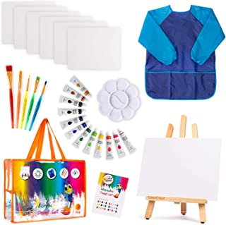 Kids Painting Art Set | 27-Piece Complete Paint Kit with 12 Colors Acrylic Paint , Brushes 8x10 Canvas Easel