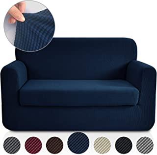 RHF 2 Separate Pieces Loveseat Cover, Slipcovers for Couches and Loveseats with Separate Cushion Cover Jacquard High Stretch Loveseat Slipcover(Loveseat: Navy)
