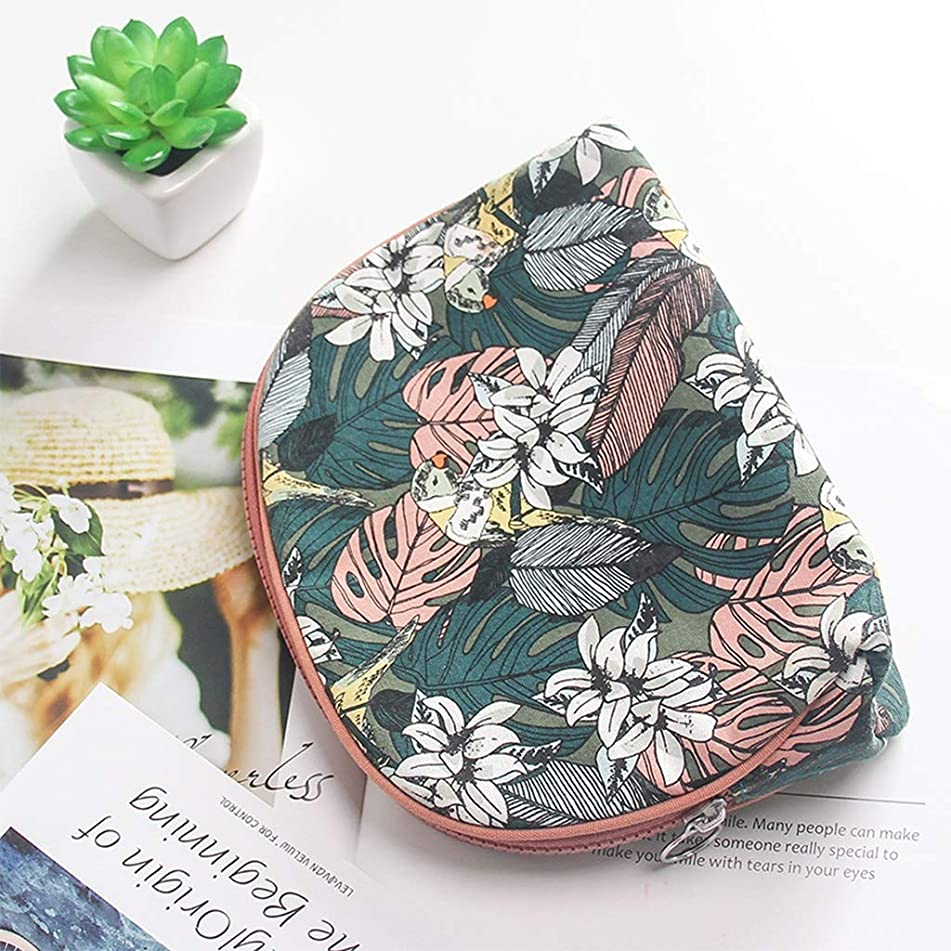 Cosmetic Bags Printing Small Portable Simple Canvas Art with Cute Girl Heart Garden Wind Travel Goods (Color : Green, Size : 21814cm)