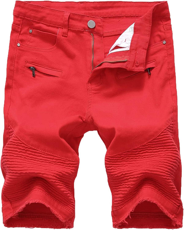 Men's Casual Biker Stretchy Shorts Jean Fashion Slim Folds Jeans Short Straight Fit Zipper Decoration Denim Short-Pant