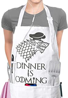 Mens Kitchen Aprons for Women - Famgem Dinner is Coming Chef Bib for Cooking, BBQ, Baking / 100% Cotton, 3 Pockets, White