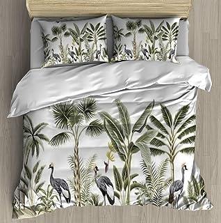 Soft Printed Bedding Set Tropical vintage botanical landscape palm tree banana tree plant crane Duvet Cover Pillow Case Pa...