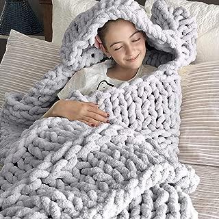 DCZTELG Handmade Chunky Knit Blanket Throw Bulky Knitting Blanket Chenille Blankets Soft Cozy Polyester (D-Gray, 49x69in(130170cm))
