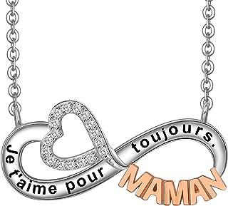LOVORDS Collier Femme Grav/é en Argent 925//1000 Pendentif Infini et C/œur Cadeau Maman Amoureux Romantique pour Ell