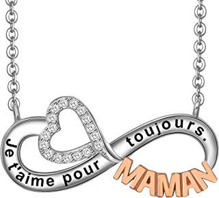 LOVORDS Collier Femme Gravé en Argent 925/1000 Pendentif Infini et Cœur Cadeau Amoureux pour Elle Mère Maman Mamie Fille