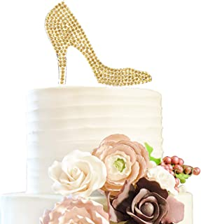 Crystal High Heels Shoes Gold Rhinestone Cake Topper Birthday Hen Night Wedding Party Gift Sparkly Decoration