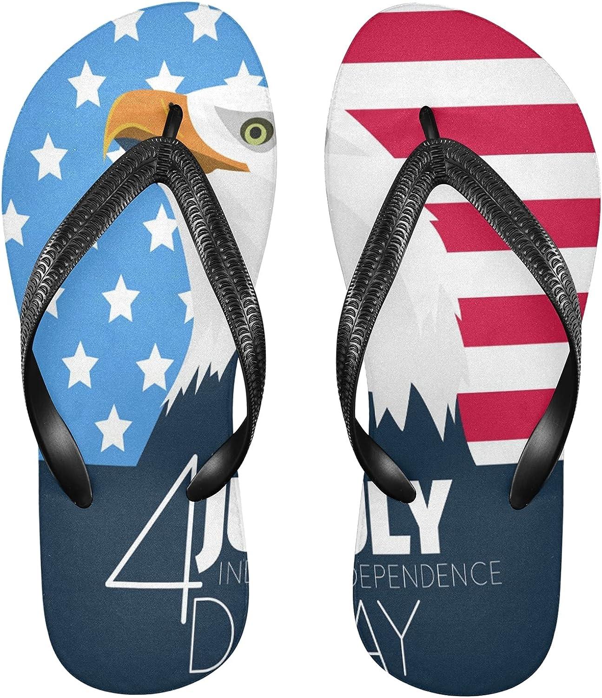 Nander Independence Day Eagles Flag Women's Sandal Flip Flops Soft Comfortable Beach Slippers Unisex Adult Durable Flip Flops Shower Shoes