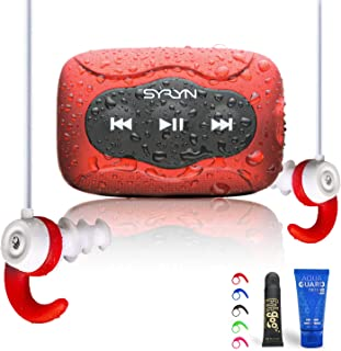 Swimbuds Color Waterproof Headphones and 8 Gb Syryn Waterproof Mp3 Player with Shuffle Feature
