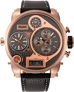 OULM Cool Duel Time Zone Leather Strap Men Military Steel Army Sport Quartz Wrist Watch, Brown
