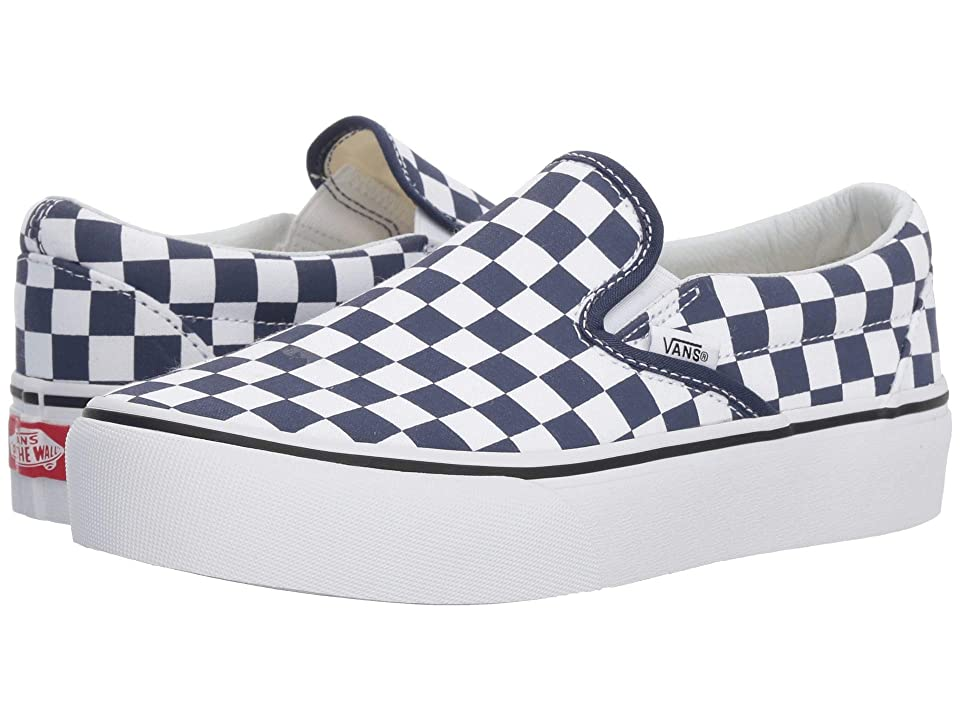 Vans Classic Slip-On Platform ((Checkerboard) Medieval Blue/True White) Slip on Shoes