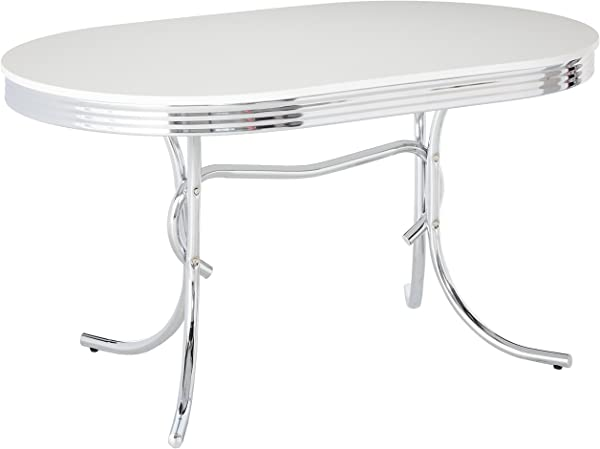Retro Oval Dining Table White And Chrome
