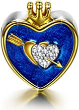 NINAQUEEN The Arrow Of Love Christmas Charms Gifts 925 Sterling Silver Gold Plated Heart Shape Crown I Love You Navy Enamel Bead Charms with 5A Cubic Zirconias