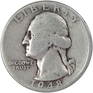 1948 D 25c Washington Silver Quarter US Coin G Good