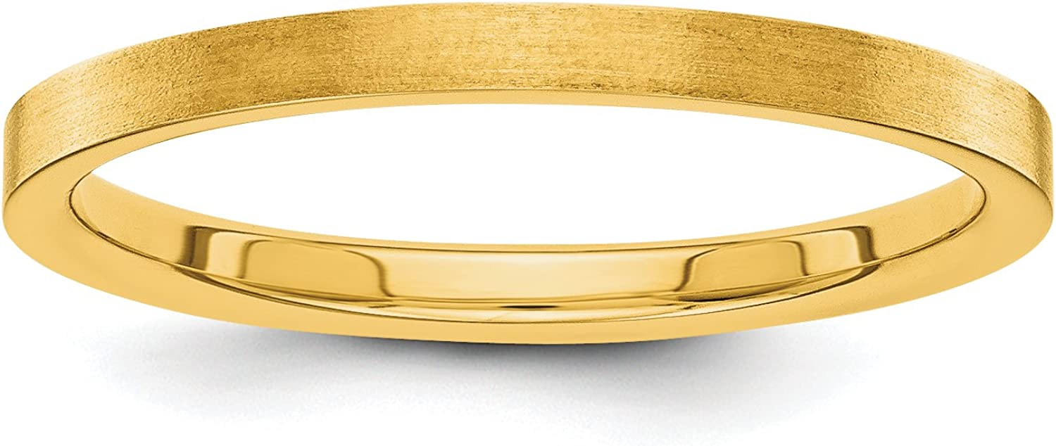 Solid 14k Yellow Gold 2 Ranking TOP16 mm Challenge the lowest price of Japan ☆ Wedding Satin Ring Band